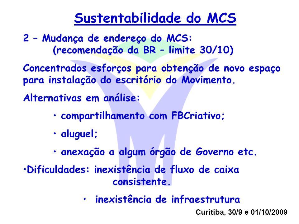 Curitiba, 30/9 e 01/10/2009 Sustentabilidade do MCS 2 – Mudança de endereço do MCS: (recomendação da BR – limite 30/10) Concentrados esforços para obtenção de novo espaço para instalação do escritório do Movimento.
