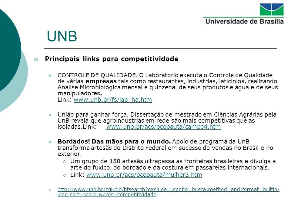 UNB Principais links para competitividade CONTROLE DE QUALIDADE. O Laboratório executa o Controle de Qualidade de várias empresas tais como restaurant