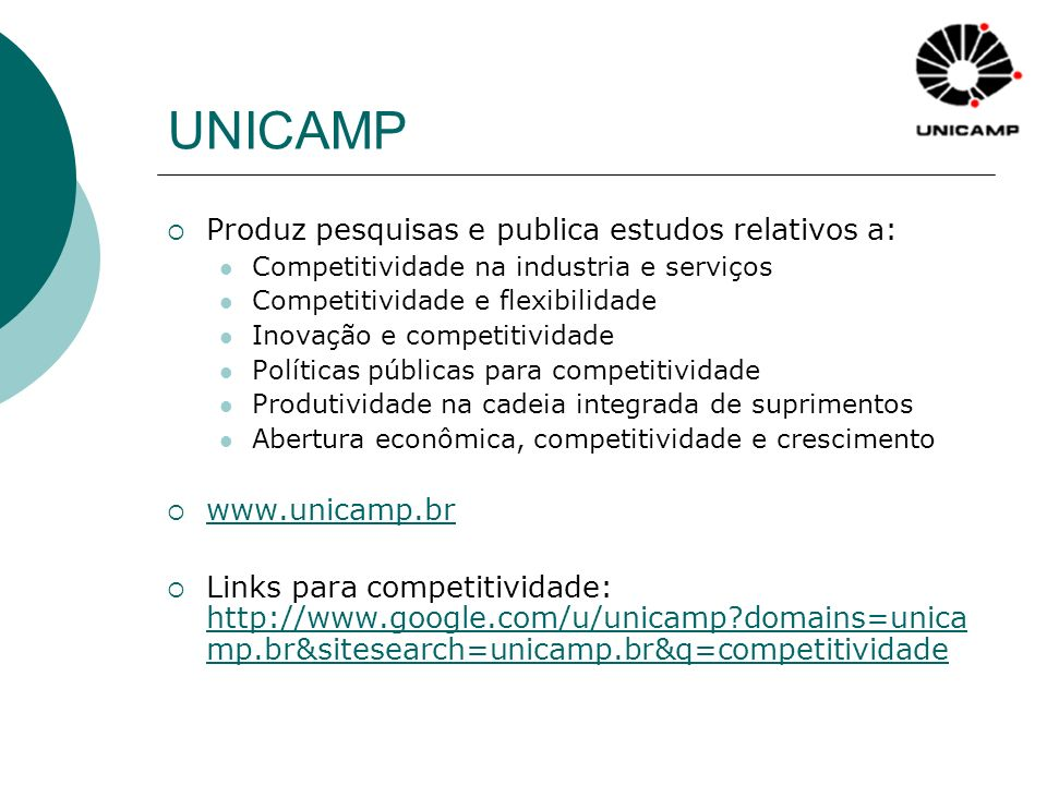 UNICAMP Produz pesquisas e publica estudos relativos a: Competitividade na industria e serviços Competitividade e flexibilidade Inovação e competitivi