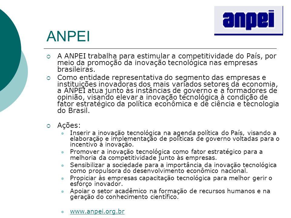 ANPEI A ANPEI trabalha para estimular a competitividade do País, por meio da promoção da inovação tecnológica nas empresas brasileiras. Como entidade