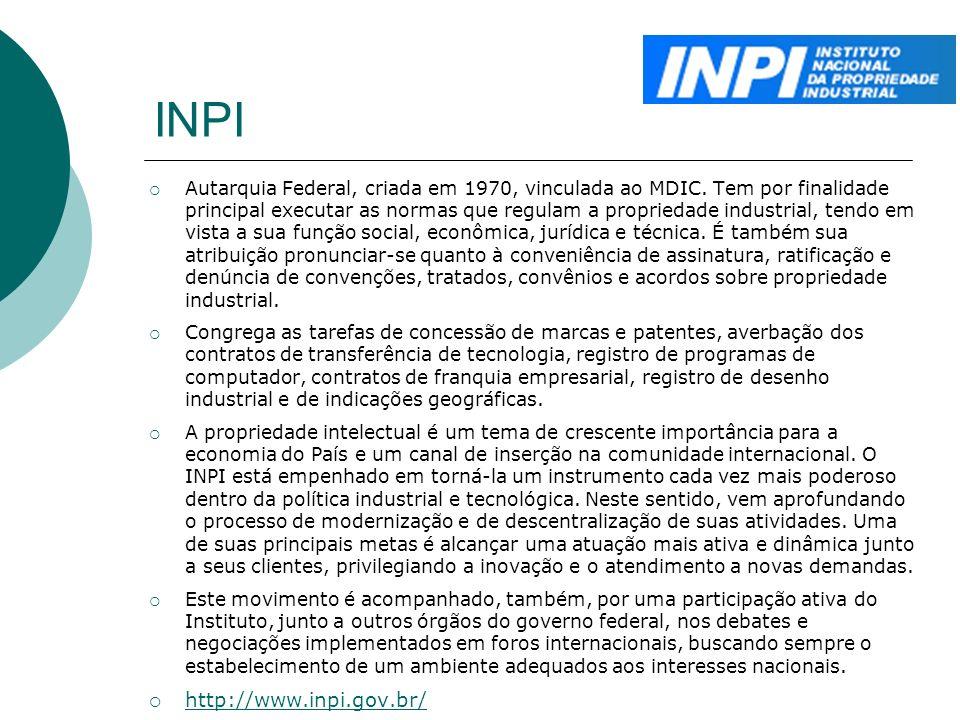 INPI Autarquia Federal, criada em 1970, vinculada ao MDIC. Tem por finalidade principal executar as normas que regulam a propriedade industrial, tendo
