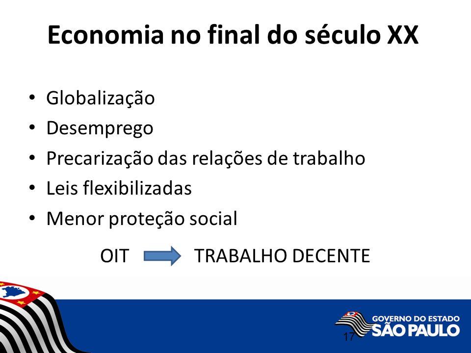 Economia no final do século XX 17 Globalização Desemprego Precarização das relações de trabalho Leis flexibilizadas Menor proteção social OIT TRABALHO