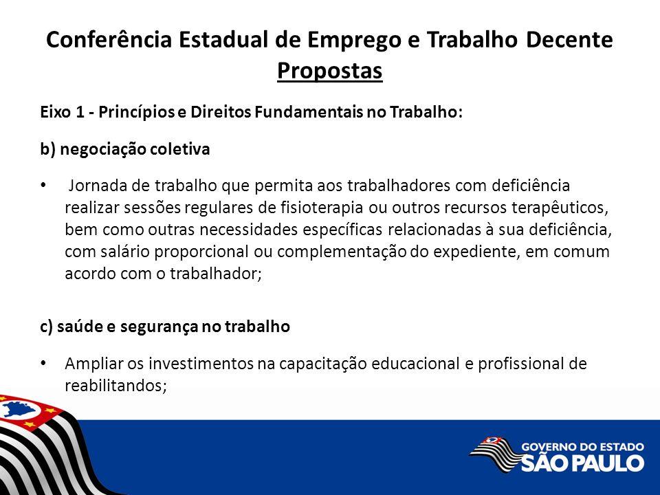 Conferência Estadual de Emprego e Trabalho Decente Propostas Eixo 1 - Princípios e Direitos Fundamentais no Trabalho: b) negociação coletiva Jornada d