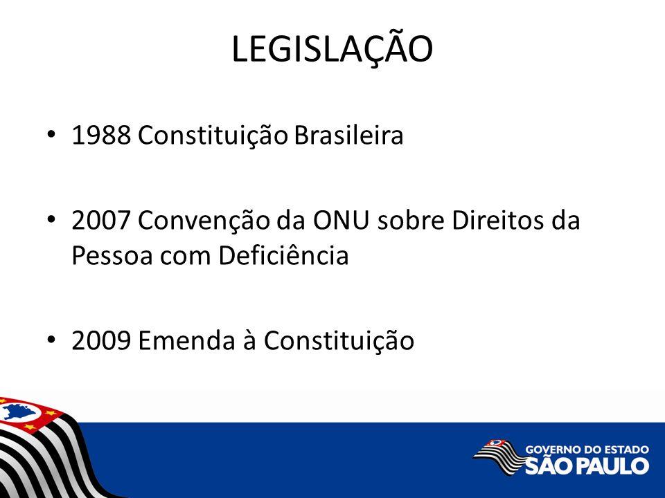 LEGISLAÇÃO 1988 Constituição Brasileira 2007 Convenção da ONU sobre Direitos da Pessoa com Deficiência 2009 Emenda à Constituição