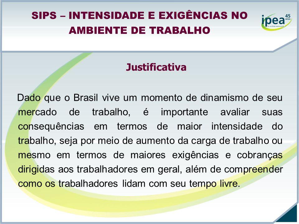 SIPS – INTENSIDADE E EXIGÊNCIAS NO AMBIENTE DE TRABALHO Dado que o Brasil vive um momento de dinamismo de seu mercado de trabalho, é importante avalia