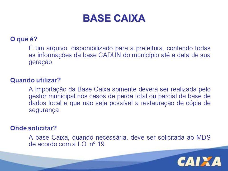 O que é? É um arquivo, disponibilizado para a prefeitura, contendo todas as informações da base CADUN do município até a data de sua geração. Quando u