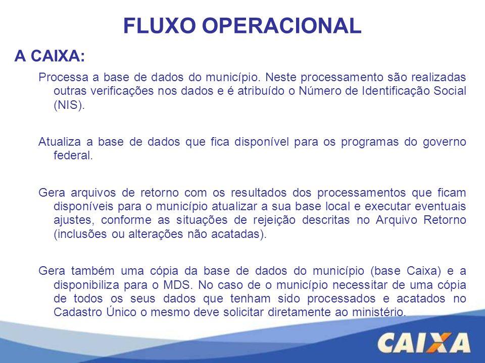 A CAIXA: Processa a base de dados do município. Neste processamento são realizadas outras verificações nos dados e é atribuído o Número de Identificaç