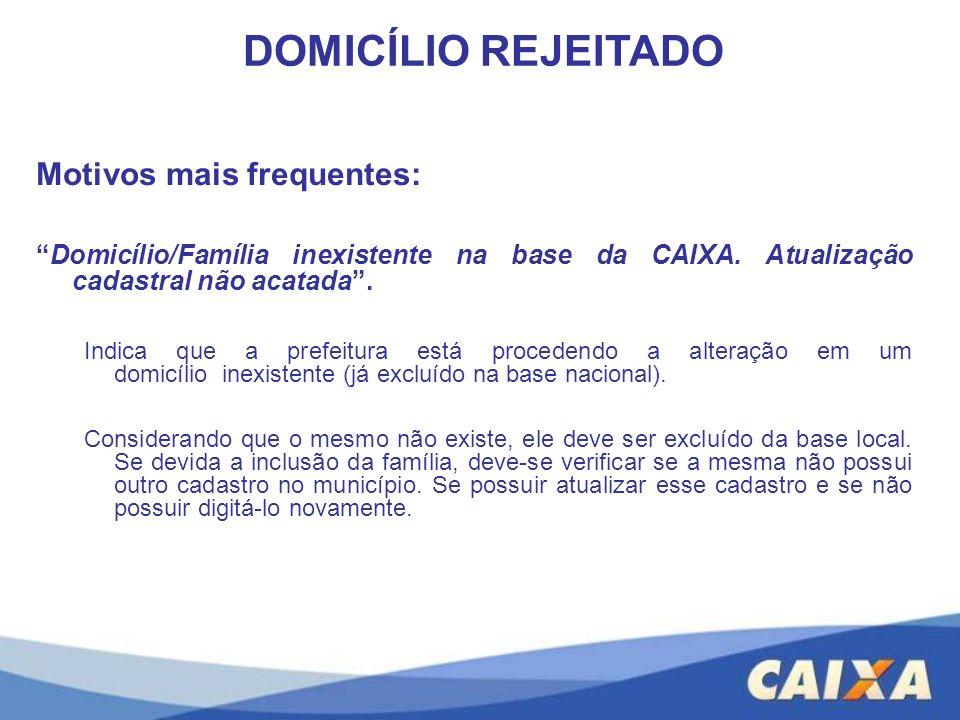 Motivos mais frequentes: Domicílio/Família inexistente na base da CAIXA. Atualização cadastral não acatada. Indica que a prefeitura está procedendo a