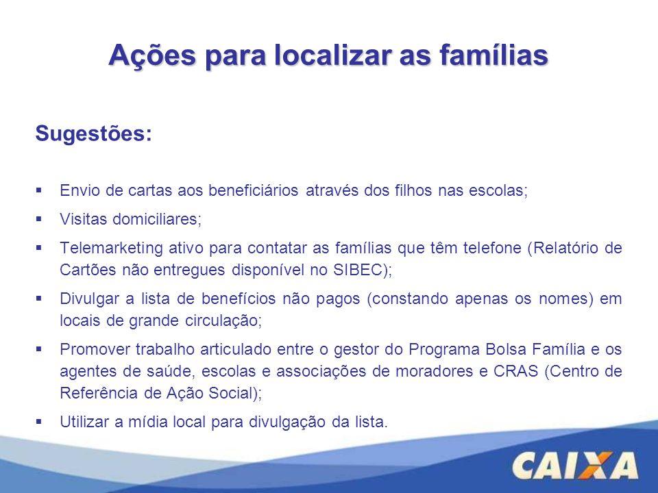 Ações para localizar as famílias Sugestões: Envio de cartas aos beneficiários através dos filhos nas escolas; Visitas domiciliares; Telemarketing ativ