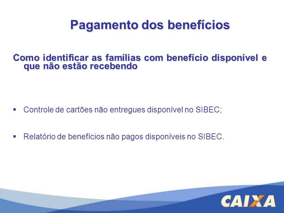 Pagamento dos benefícios Como identificar as famílias com benefício disponível e que não estão recebendo Controle de cartões não entregues disponível