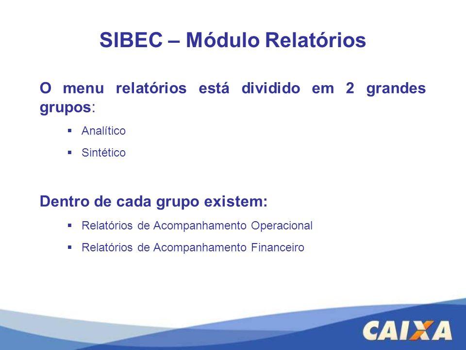SIBEC – Módulo Relatórios O menu relatórios está dividido em 2 grandes grupos: Analítico Sintético Dentro de cada grupo existem: Relatórios de Acompan