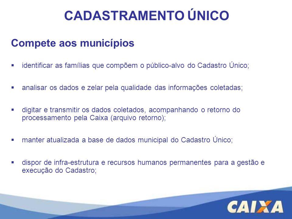 Compete aos municípios identificar as famílias que compõem o público-alvo do Cadastro Único; analisar os dados e zelar pela qualidade das informações