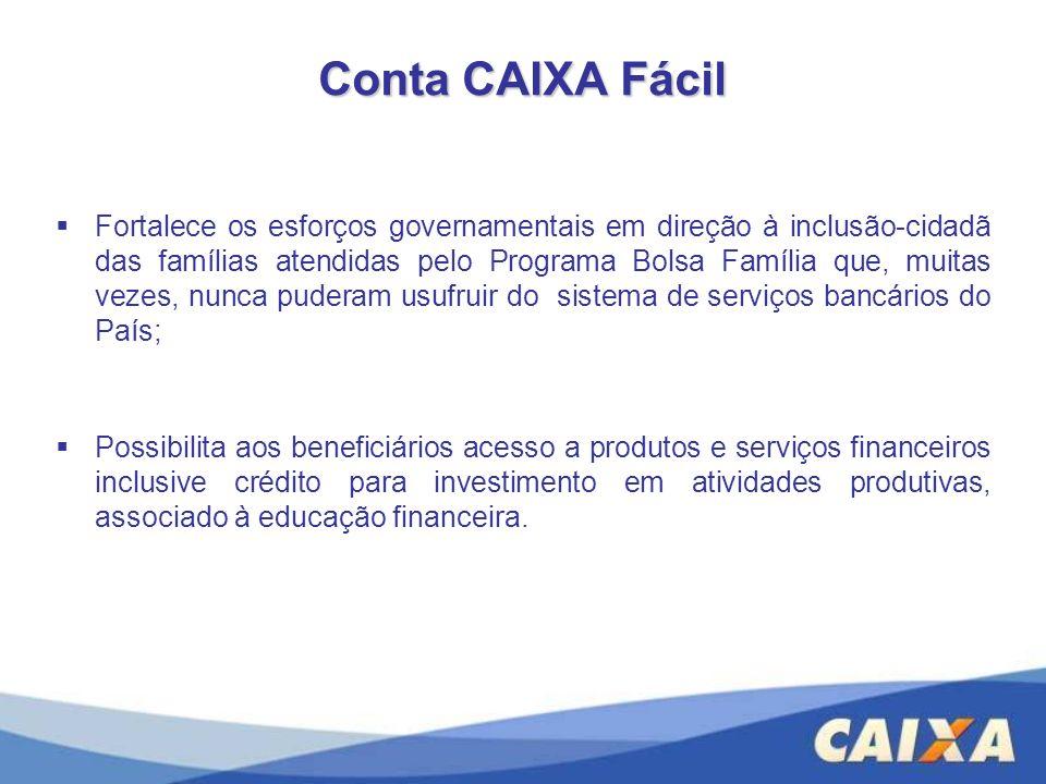 Conta CAIXA Fácil Fortalece os esforços governamentais em direção à inclusão-cidadã das famílias atendidas pelo Programa Bolsa Família que, muitas vez