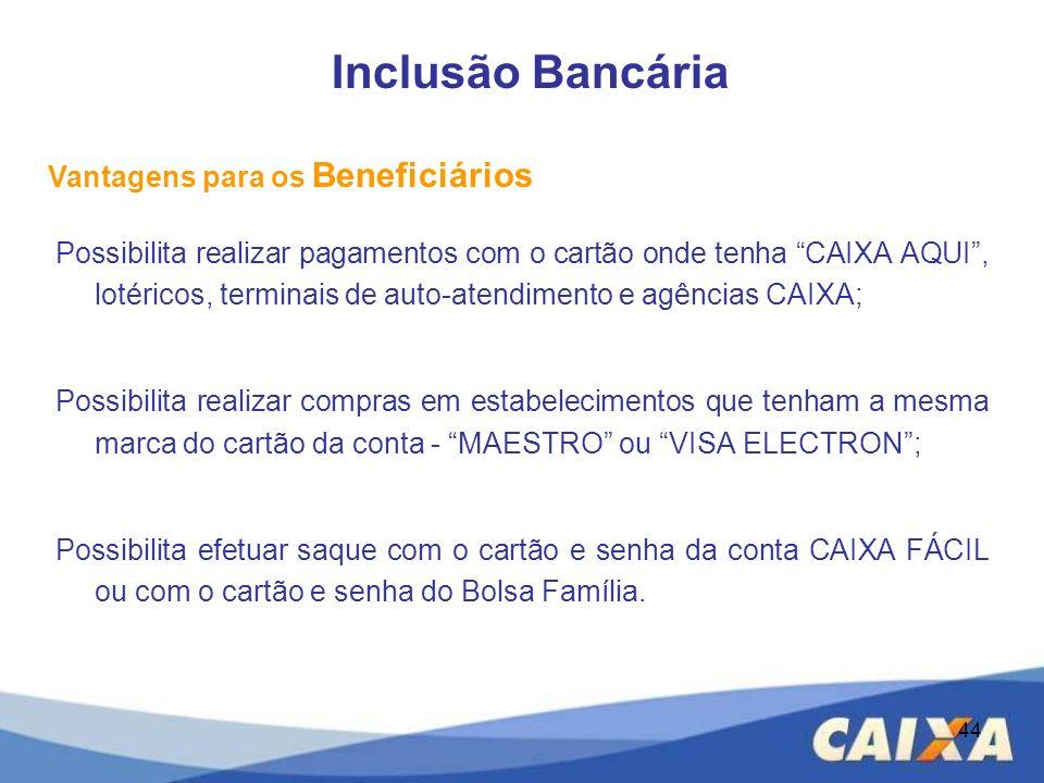 44 Possibilita realizar pagamentos com o cartão onde tenha CAIXA AQUI, lotéricos, terminais de auto-atendimento e agências CAIXA; Possibilita realizar