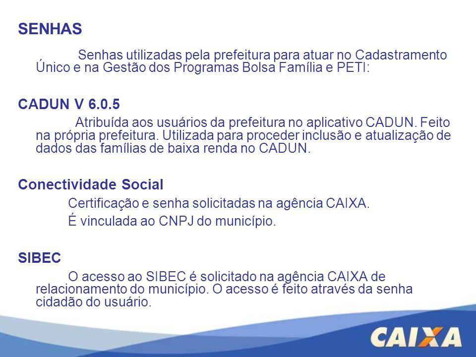 SENHAS Senhas utilizadas pela prefeitura para atuar no Cadastramento Único e na Gestão dos Programas Bolsa Família e PETI: CADUN V 6.0.5 Atribuída aos