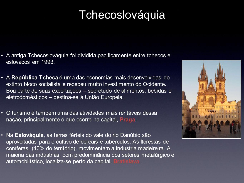 Tchecoslováquia A antiga Tchecoslováquia foi dividida pacificamente entre tchecos e eslovacos em 1993. A República Tcheca é uma das economias mais