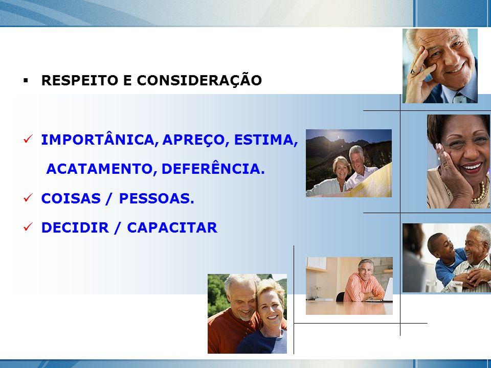 RESPEITO E CONSIDERAÇÃO IMPORTÂNICA, APREÇO, ESTIMA, ACATAMENTO, DEFERÊNCIA. COISAS / PESSOAS. DECIDIR / CAPACITAR