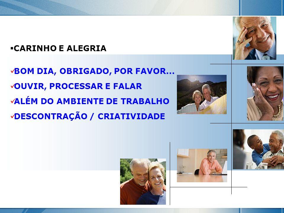 CARINHO E ALEGRIA BOM DIA, OBRIGADO, POR FAVOR... OUVIR, PROCESSAR E FALAR ALÉM DO AMBIENTE DE TRABALHO DESCONTRAÇÃO / CRIATIVIDADE