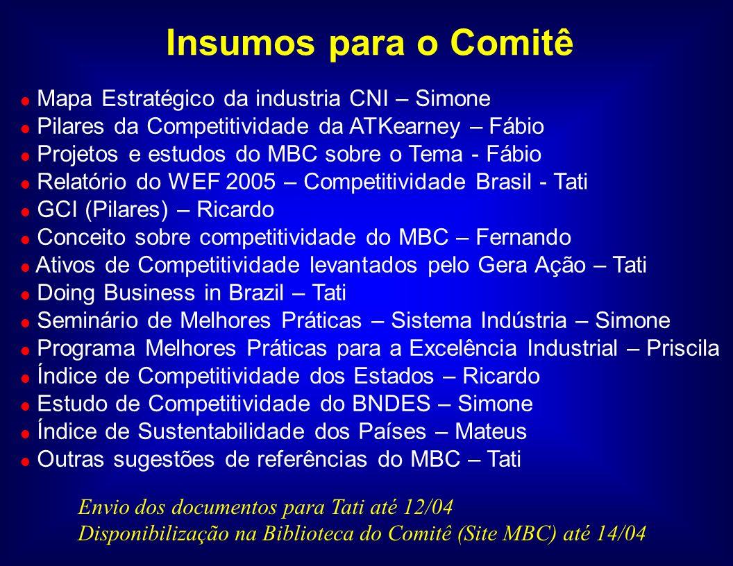 l Petrobras l Vale do Rio Doce l Embraer l IPEA l Prefeitura de Porto Alegre (Secretario de P&G).