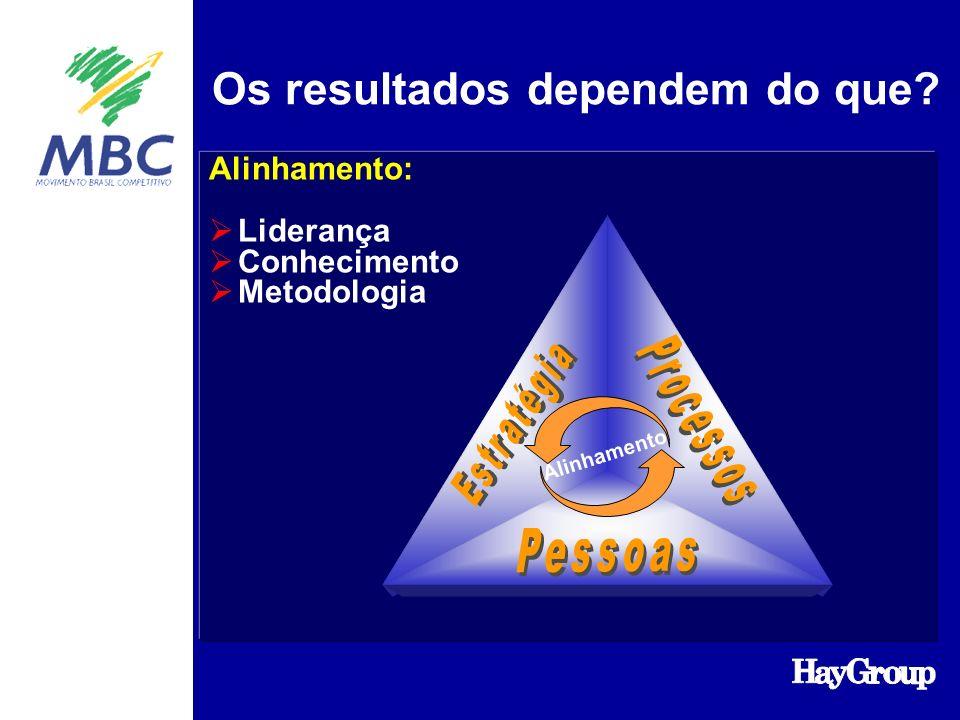 Os resultados dependem do que Alinhamento: Liderança Conhecimento Metodologia Alinhamento