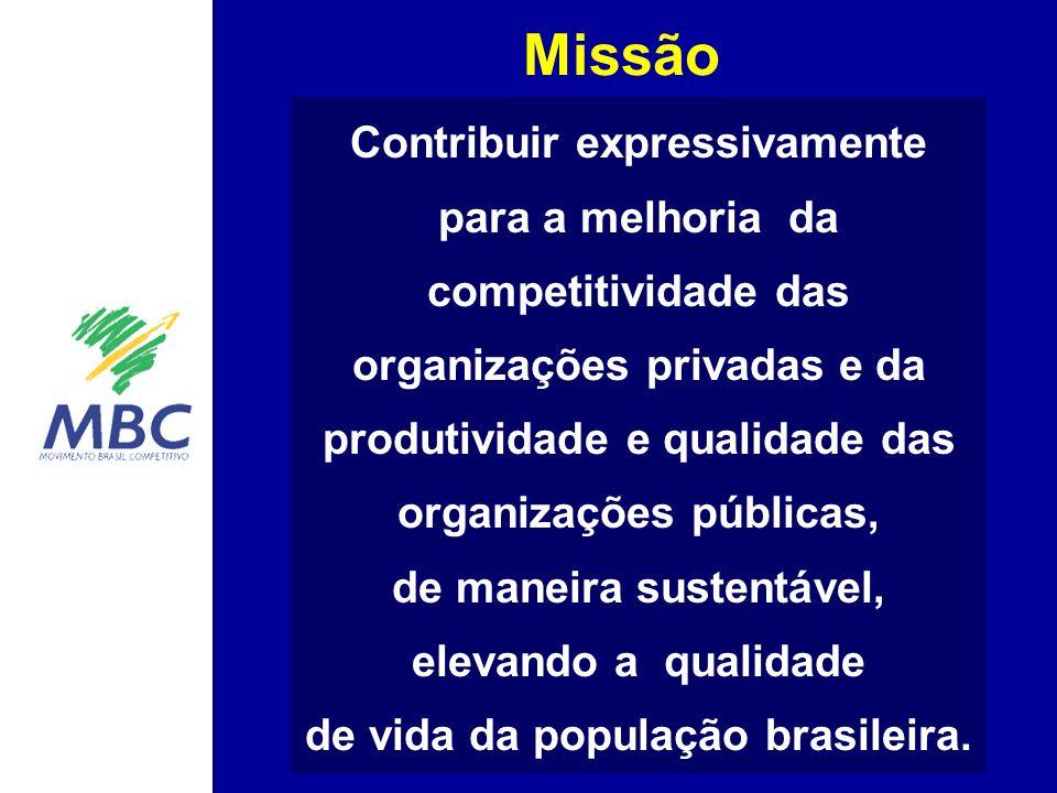 Missão Contribuir expressivamente para a melhoria da competitividade das organizações privadas e da produtividade e qualidade das organizações públicas, de maneira sustentável, elevando a qualidade de vida da população brasileira.