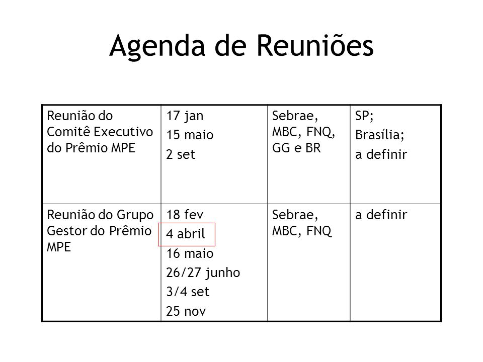 Agenda de Reuniões Reunião do Comitê Executivo do Prêmio MPE 17 jan 15 maio 2 set Sebrae, MBC, FNQ, GG e BR SP; Brasília; a definir Reunião do Grupo G