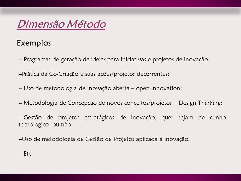 – Programas de geração de ideias para iniciativas e projetos de inovação; – Prática da Co-Criação e suas ações/projetos decorrentes; – Uso de metodolo