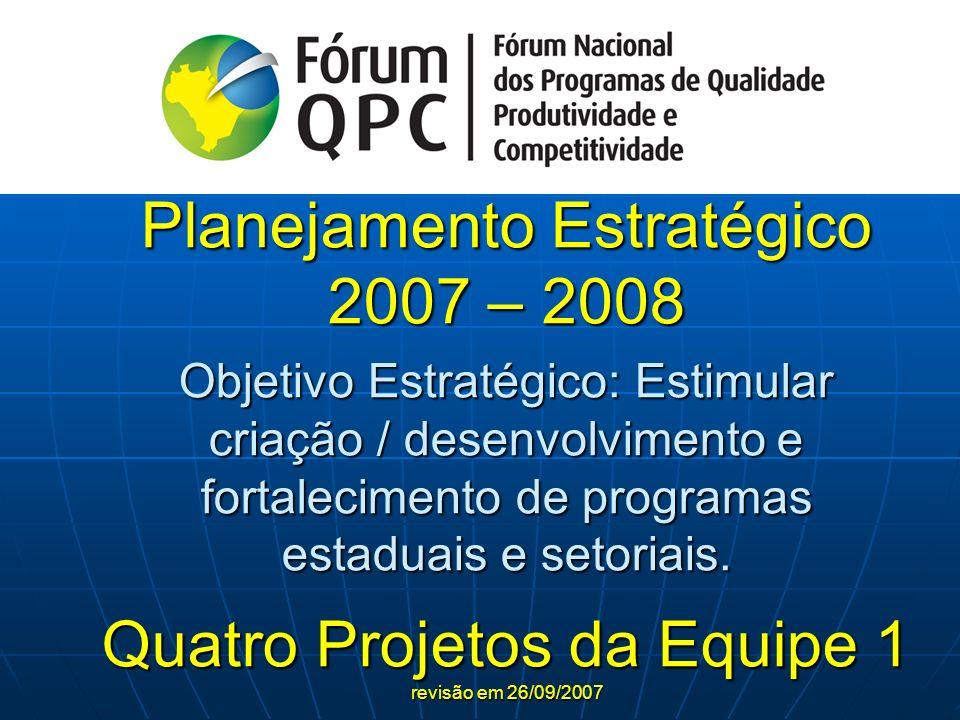 Planejamento Estratégico 2007 – 2008 Objetivo Estratégico: Estimular criação / desenvolvimento e fortalecimento de programas estaduais e setoriais. Qu