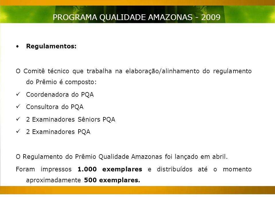 Regulamentos: O Comitê técnico que trabalha na elaboração/alinhamento do regulamento do Prêmio é composto: Coordenadora do PQA Consultora do PQA 2 Examinadores Sêniors PQA 2 Examinadores PQA O Regulamento do Prêmio Qualidade Amazonas foi lançado em abril.