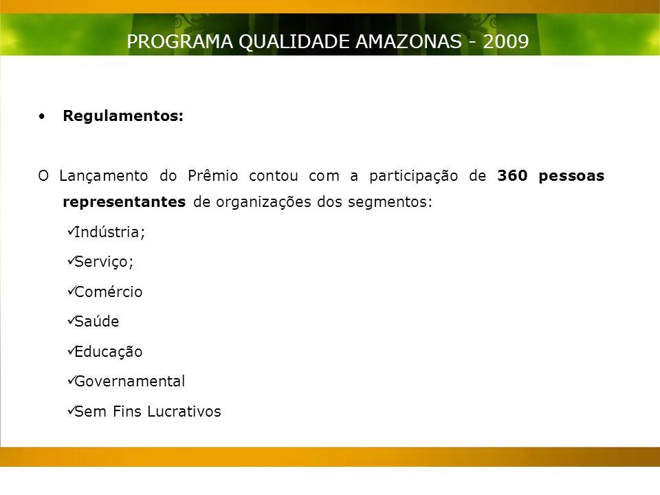 Regulamentos: O Lançamento do Prêmio contou com a participação de 360 pessoas representantes de organizações dos segmentos: Indústria; Serviço; Comércio Saúde Educação Governamental Sem Fins Lucrativos PROGRAMA QUALIDADE AMAZONAS - 2009
