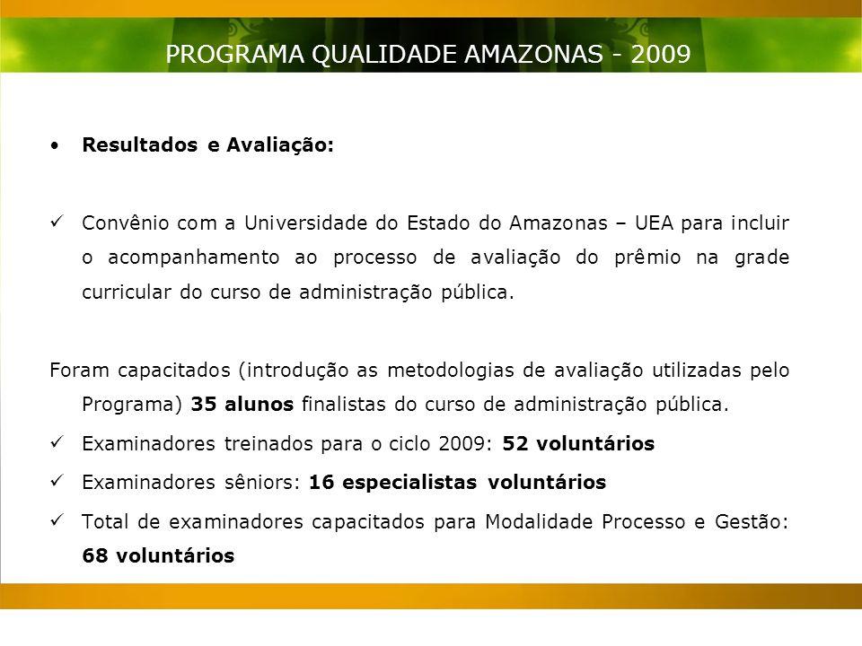 Resultados e Avaliação: Convênio com a Universidade do Estado do Amazonas – UEA para incluir o acompanhamento ao processo de avaliação do prêmio na grade curricular do curso de administração pública.
