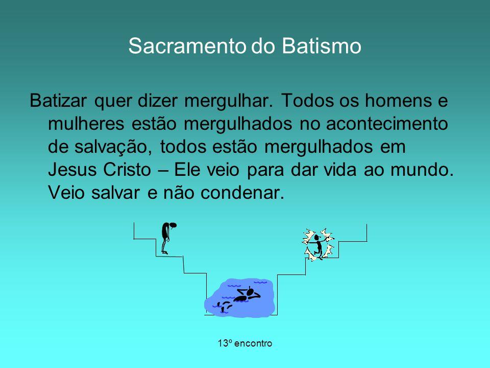 13º encontro QUESTÕES Por que a Igreja Católica confere Sacramento do Batismo aos bebês.