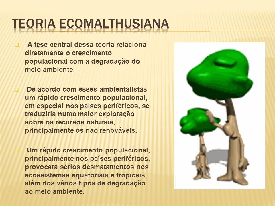 A tese central dessa teoria relaciona diretamente o crescimento populacional com a degradação do meio ambiente.
