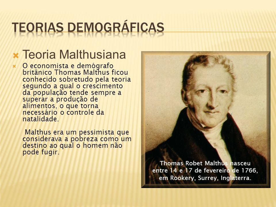 Teoria Malthusiana O economista e demógrafo britânico Thomas Malthus ficou conhecido sobretudo pela teoria segundo a qual o crescimento da população tende sempre a superar a produção de alimentos, o que torna necessário o controle da natalidade.