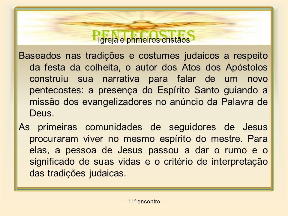 11º encontro PENTECOSTES Igreja e primeiros cristãos A convivência com a comunidade judaica tradicional foi se tornando difícil.