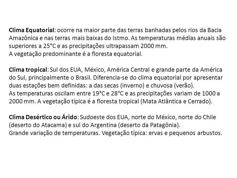 Clima Equatorial: ocorre na maior parte das terras banhadas pelos rios da Bacia Amazônica e nas terras mais baixas do Istmo. As temperaturas médias an