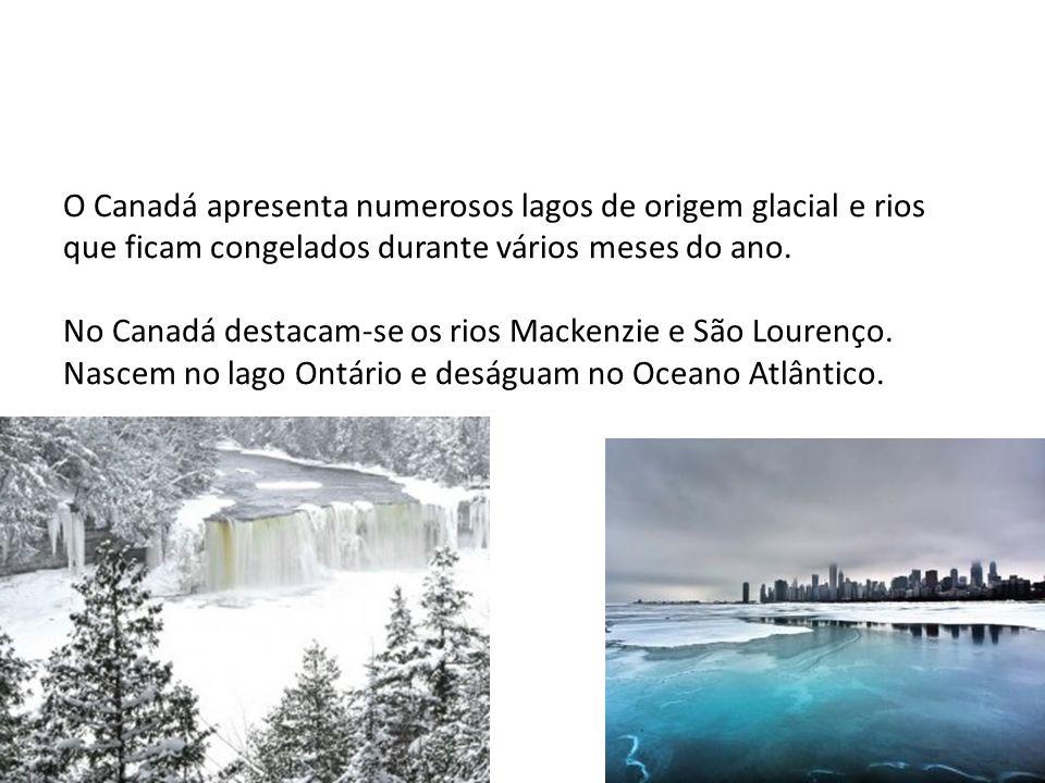 O Canadá apresenta numerosos lagos de origem glacial e rios que ficam congelados durante vários meses do ano. No Canadá destacam-se os rios Mackenzie