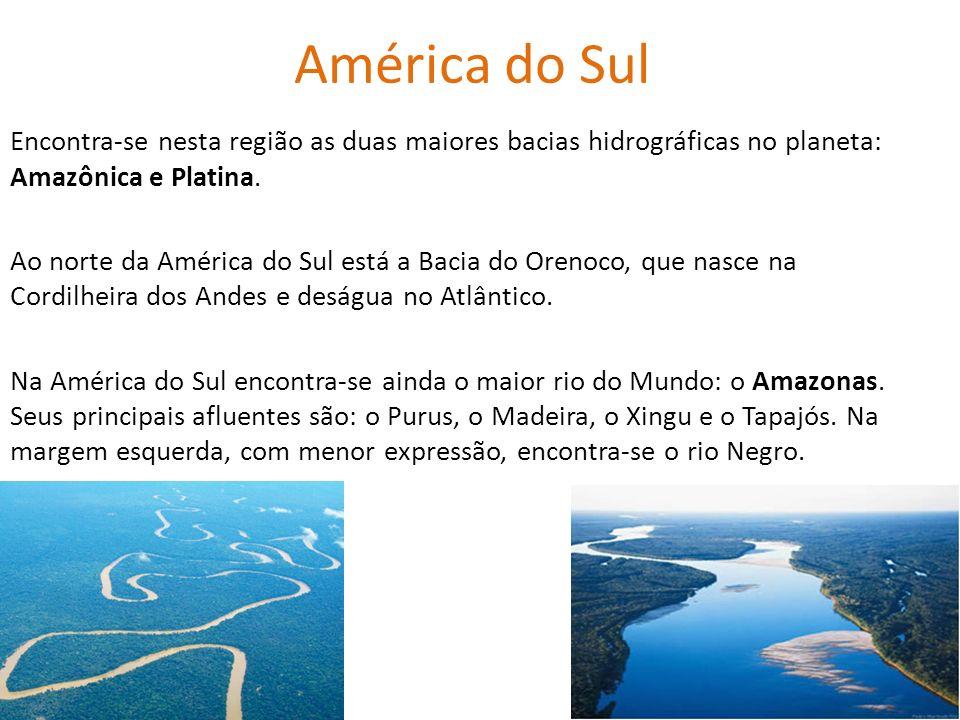 América do Sul Encontra-se nesta região as duas maiores bacias hidrográficas no planeta: Amazônica e Platina. Ao norte da América do Sul está a Bacia