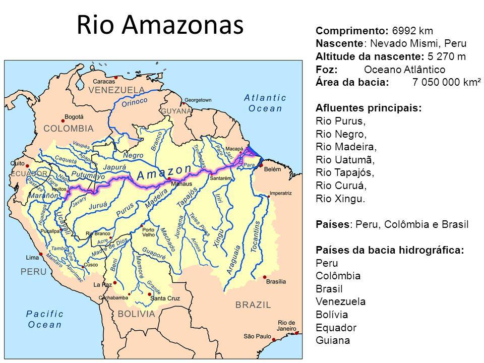 Rio Amazonas Comprimento: 6992 km Nascente: Nevado Mismi, Peru Altitude da nascente: 5 270 m Foz:Oceano Atlântico Área da bacia:7 050 000 km² Afluente