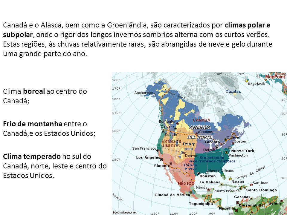 Canadá e o Alasca, bem como a Groenlândia, são caracterizados por climas polar e subpolar, onde o rigor dos longos invernos sombrios alterna com os cu