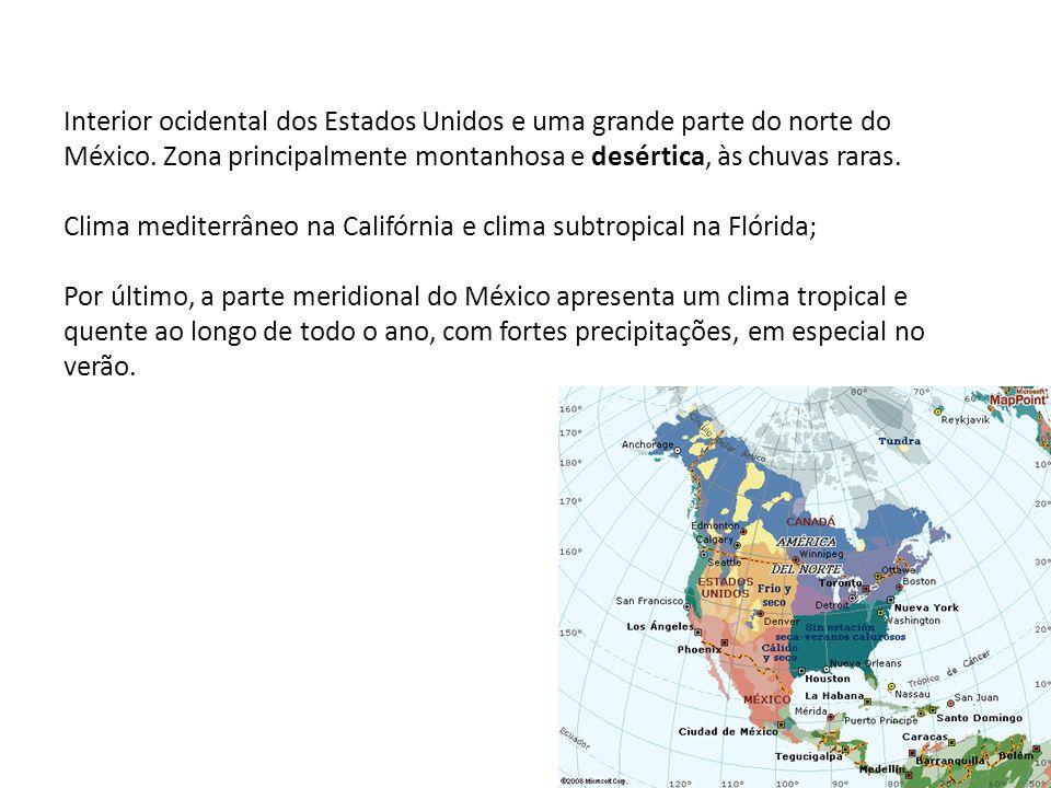 Interior ocidental dos Estados Unidos e uma grande parte do norte do México. Zona principalmente montanhosa e desértica, às chuvas raras. Clima medite