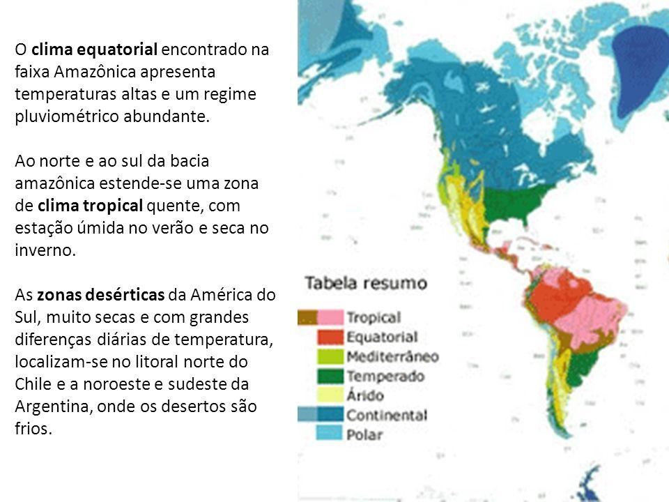 O clima equatorial encontrado na faixa Amazônica apresenta temperaturas altas e um regime pluviométrico abundante. Ao norte e ao sul da bacia amazônic