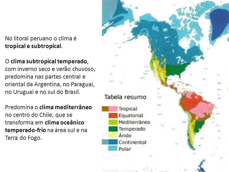 No litoral peruano o clima é tropical e subtropical. O clima subtropical temperado, com inverno seco e verão chuvoso, predomina nas partes central e o