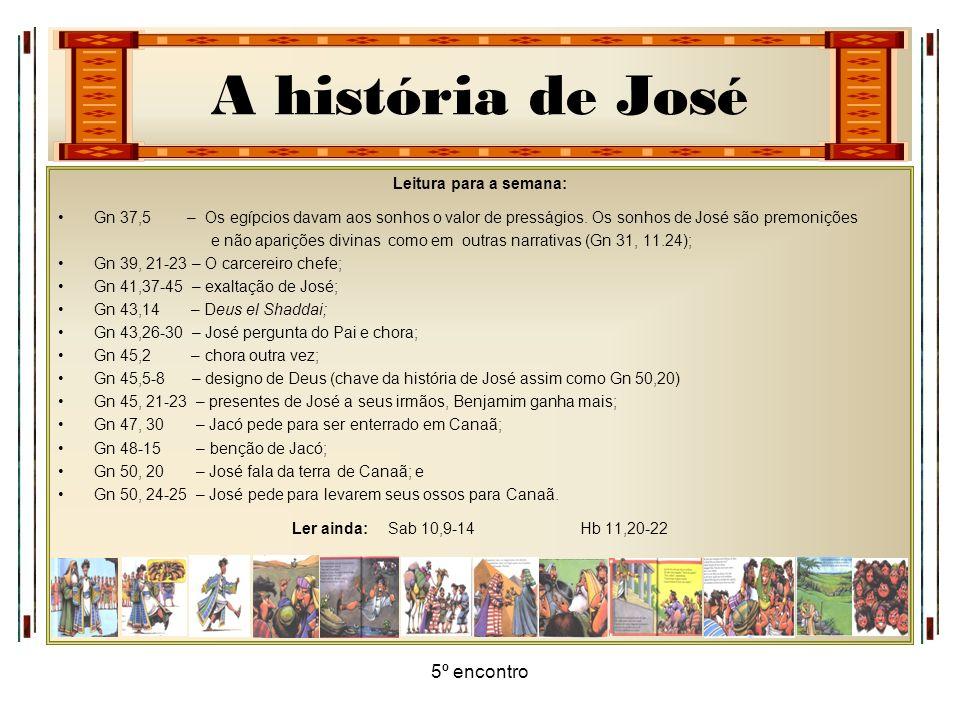 A história de José 5º encontro Leitura para a semana: Gn 37,5 – Os egípcios davam aos sonhos o valor de presságios. Os sonhos de José são premonições