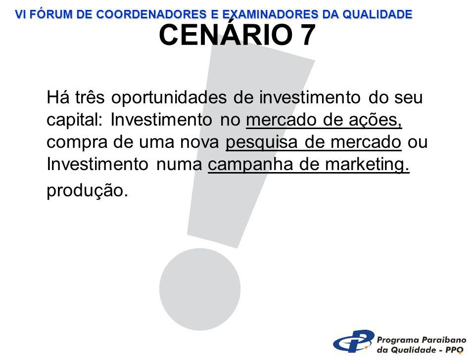 VI FÓRUM DE COORDENADORES E EXAMINADORES DA QUALIDADE CENÁRIO 7 Há três oportunidades de investimento do seu capital: Investimento no mercado de ações, compra de uma nova pesquisa de mercado ou Investimento numa campanha de marketing.