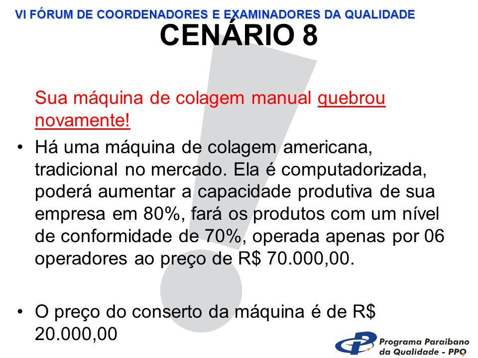 VI FÓRUM DE COORDENADORES E EXAMINADORES DA QUALIDADE CENÁRIO 8 Sua máquina de colagem manual quebrou novamente.