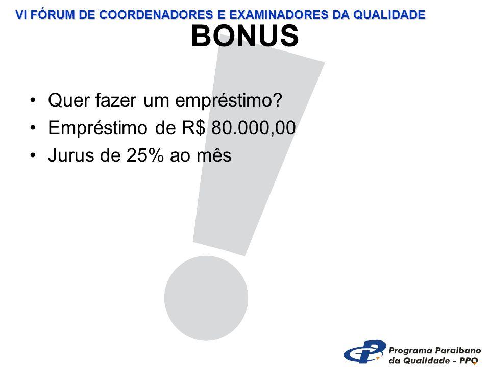 VI FÓRUM DE COORDENADORES E EXAMINADORES DA QUALIDADE BONUS Quer fazer um empréstimo.