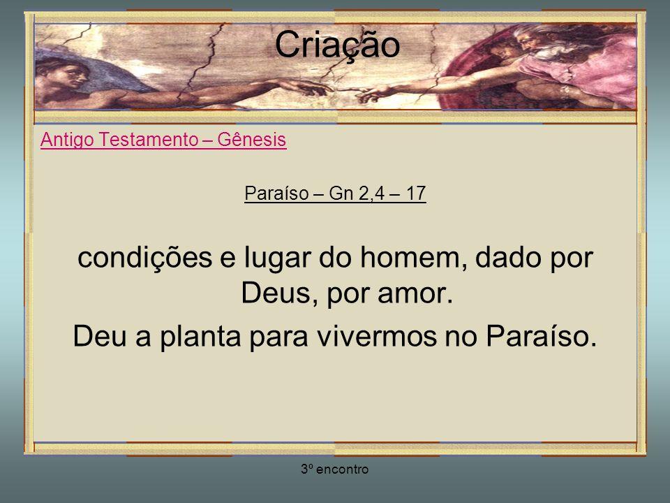 3º encontro Criação Antigo Testamento – Gênesis Paraíso – Gn 2,4 – 17 condições e lugar do homem, dado por Deus, por amor. Deu a planta para vivermos