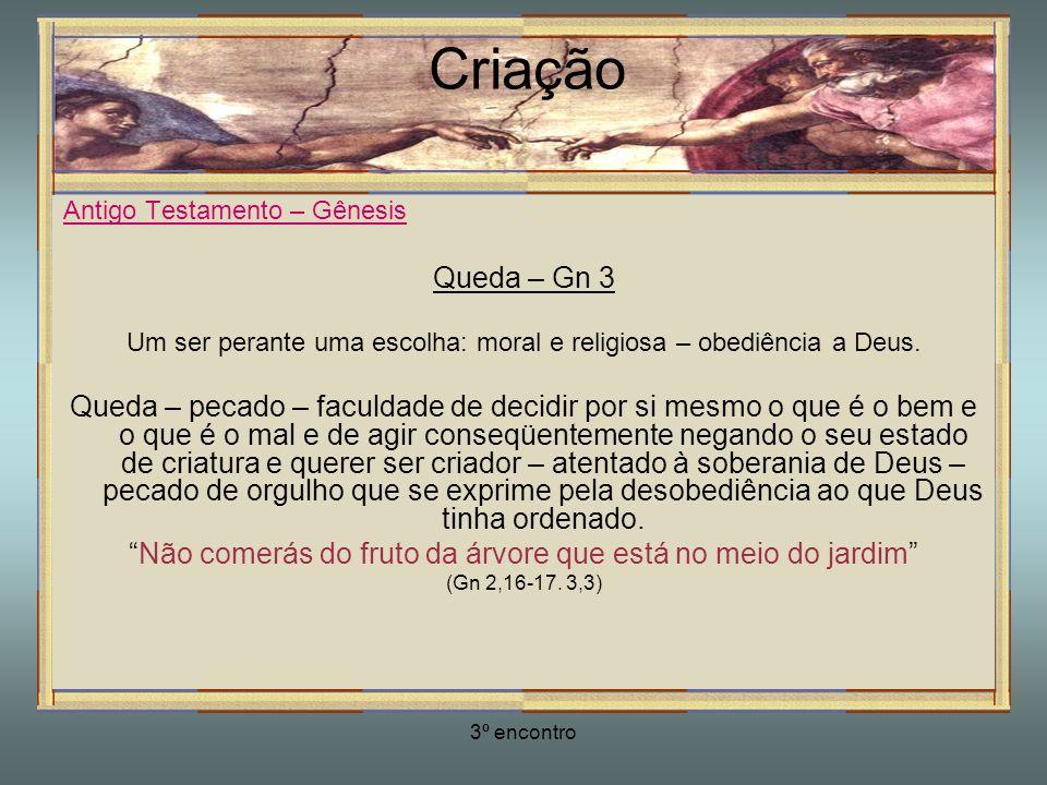 3º encontro Criação Antigo Testamento – Gênesis Queda – Gn 3 Um ser perante uma escolha: moral e religiosa – obediência a Deus. Queda – pecado – facul