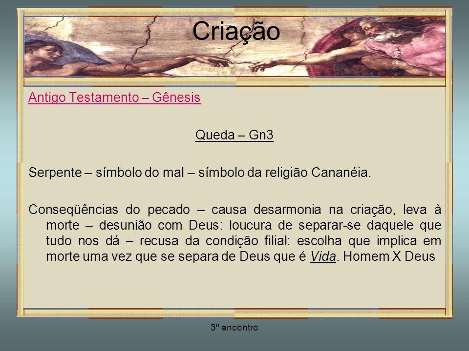 3º encontro Criação Antigo Testamento – Gênesis Queda – Gn3 Serpente – símbolo do mal – símbolo da religião Cananéia. Conseqüências do pecado – causa
